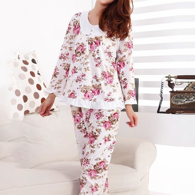 Long Sleeved Ladies Pajamas Set Cotton Pyjamas for Women Pijama Mujer Floral Print Sleepwear Multicolor / XXL