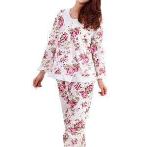 Long Sleeved Ladies Pajamas Set Cotton Pyjamas For Women Pijama Mujer Floral Print Sleepwear