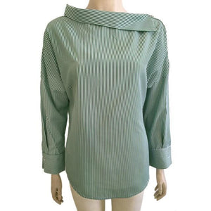 LOSSKY 2017 Spring Womens Striped Sexy Oblique Collar Shirt Loose Long-sleeved Women Bat Sleeve Green / XXL