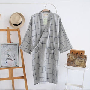 lovers Simple Japanese kimono robes men spring long sleeved 100% cotton bathrobe fashion casual.