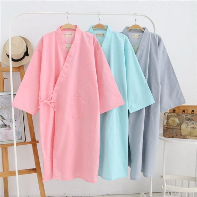lovers Simple Japanese kimono robes men spring long sleeved 100% cotton bathrobe fashion casual
