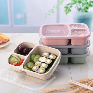 Lunch Wheat Straw Bento Box 3 Grid With Lid Microwave Food Box Biodegradable Storage Container Lunch - MBMCITY