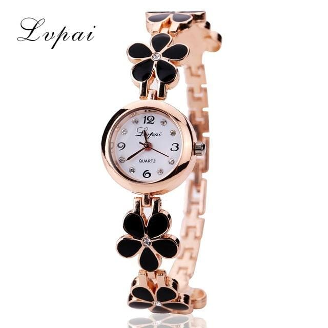 Lvpai Brand Luxury Crystal Gold Watches Women Fashion Bracelet Quartz Wristwatch Rhinestone Ladies - MBMCITY