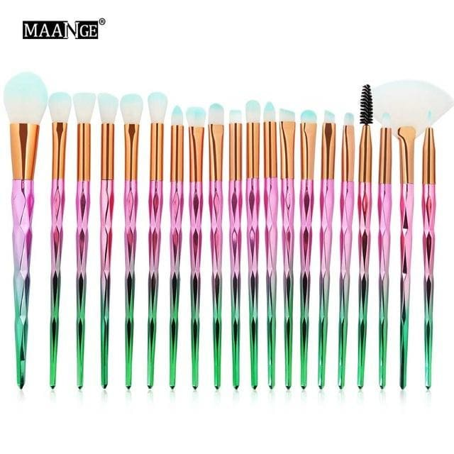 Maange 20Pcs/kit Diamond Makeup Brushes Set Powder Eye Shadow Foundation Blend Blush Lip Cosmetic Green Pink
