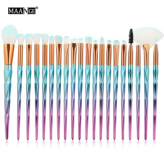Maange 20Pcs/kit Diamond Makeup Brushes Set Powder Eye Shadow Foundation Blend Blush Lip Cosmetic Pink Blue