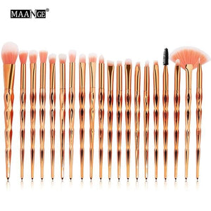 Maange 7-20Pcs Diamond Makeup Brushes Set Powder Foundation Blush Blending Eye Shadow Lip Cosmetic 20Pcs Rosegold