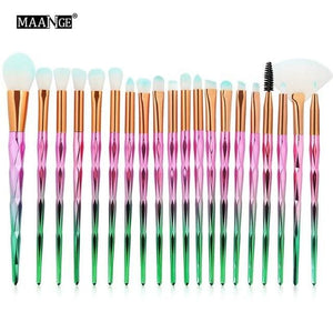 MAANGE 7-20Pcs Diamond Makeup Brushes Set Powder Foundation Blush Blending Eye shadow Lip Cosmetic 20pcs green pink
