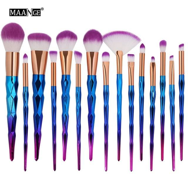 MAANGE 7-20Pcs Diamond Makeup Brushes Set Powder Foundation Blush Blending Eye shadow Lip Cosmetic 15pcs 3D