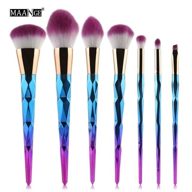 MAANGE 7-20Pcs Diamond Makeup Brushes Set Powder Foundation Blush Blending Eye shadow Lip Cosmetic 7pcs purple 1