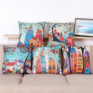 Maiyubo Linen Pillow Cover Vintage European Building Style Pattern Cushion Cover Home Decorative