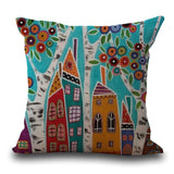 Maiyubo Linen Pillow Cover Vintage European Building Style Pattern Cushion Cover Home Decorative 45X45Cm / 4