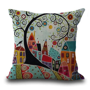 Maiyubo Linen Pillow Cover Vintage European Building Style Pattern Cushion Cover Home Decorative 45X45Cm / 2