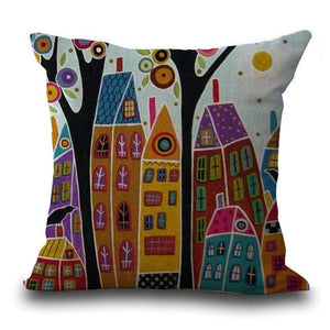 Maiyubo Linen Pillow Cover Vintage European Building Style Pattern Cushion Cover Home Decorative 45X45Cm / 5