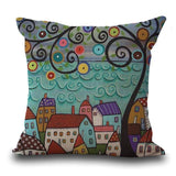 Maiyubo Linen Pillow Cover Vintage European Building Style Pattern Cushion Cover Home Decorative 45X45Cm / 3
