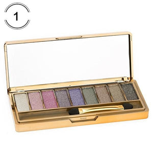 Makeup 9 Colors Diamond Bright Eyeshadow Nude Smoky Palette Cosmetics Set Maquillage Make Up With 4