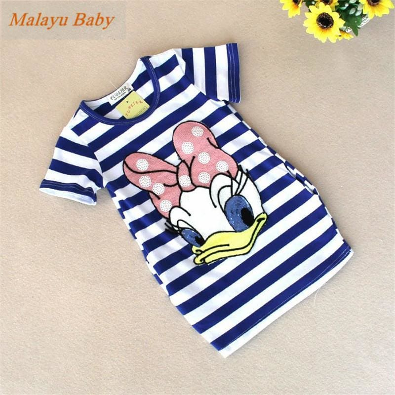 Malayu Baby 2016 latest summer girls striped dress children cartoon Donald Duck, the two sides in my