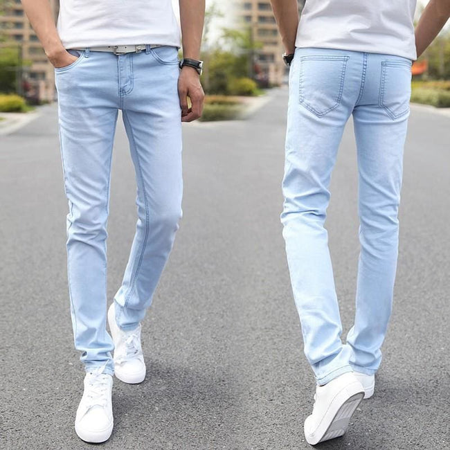 Male Fashion Designer Brand Elastic Straight Jeans 2016 New Men Mid Pants Slim Skinny Men Jeans - MBMCITY