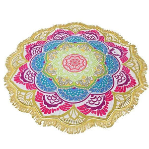Mandala Beach Towel Indian Large Lotus Printing Yoga Mat Round Tassel Tapestry Totem Blanket Hippy.