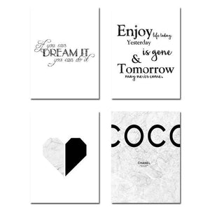 Marble Heart Fashion Poster Motivational Quote Wall Art Canvas Print Painting Nordic Style Simple 13x18cm No Frame / 4 pcs Set