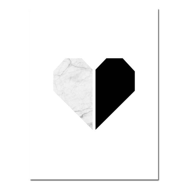 Marble Heart Fashion Poster Motivational Quote Wall Art Canvas Print Painting Nordic Style Simple - MBMCITY