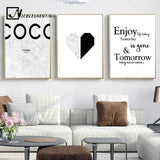 Marble Heart Fashion Poster Motivational Quote Wall Art Canvas Print Painting Nordic Style Simple