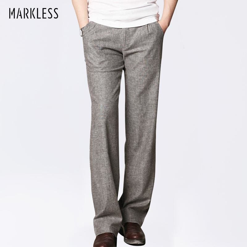 Markless Summer Thin Linen Men Pants Male Commercial Loose Casual Business Trousers Mens Clothing