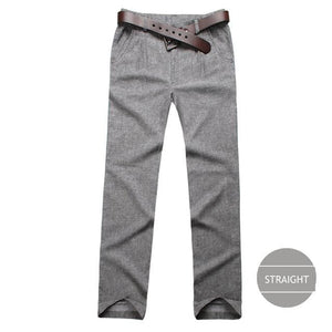 Markless Summer Thin Linen Men Pants Male Commercial Loose Casual Business Trousers Mens Clothing Straight Dark Grey / S