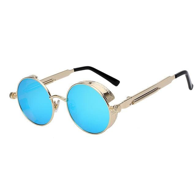 Maxglasiz Brand New 2018 Mirror Lens Round Glasses Goggles Steampunk Sunglasses Vintage Retro For Gold Blue Mirror