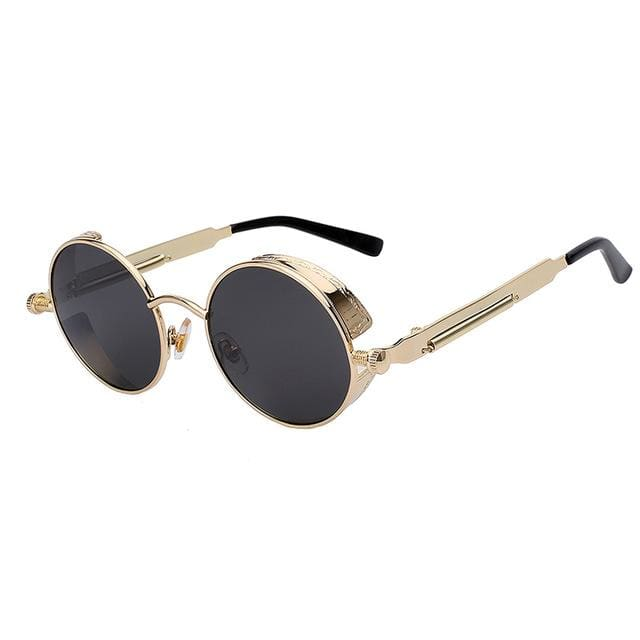 Maxglasiz Brand New 2018 Mirror Lens Round Glasses Goggles Steampunk Sunglasses Vintage Retro For Gold Black