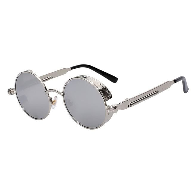 Maxglasiz Brand New 2018 Mirror Lens Round Glasses Goggles Steampunk Sunglasses Vintage Retro For Silver Mirror