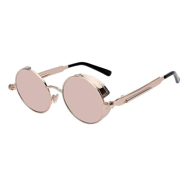 Maxglasiz Brand New 2018 Mirror Lens Round Glasses Goggles Steampunk Sunglasses Vintage Retro For Pink Mirror