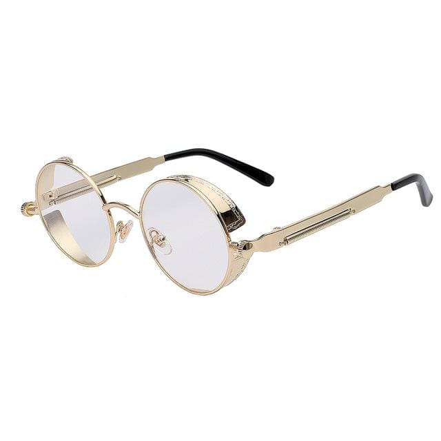 Maxglasiz Brand New 2018 Mirror Lens Round Glasses Goggles Steampunk Sunglasses Vintage Retro For Gold Clear Lens