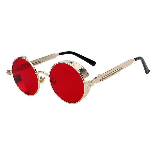 Maxglasiz Brand New 2018 Mirror Lens Round Glasses Goggles Steampunk Sunglasses Vintage Retro For Gold Red Lens