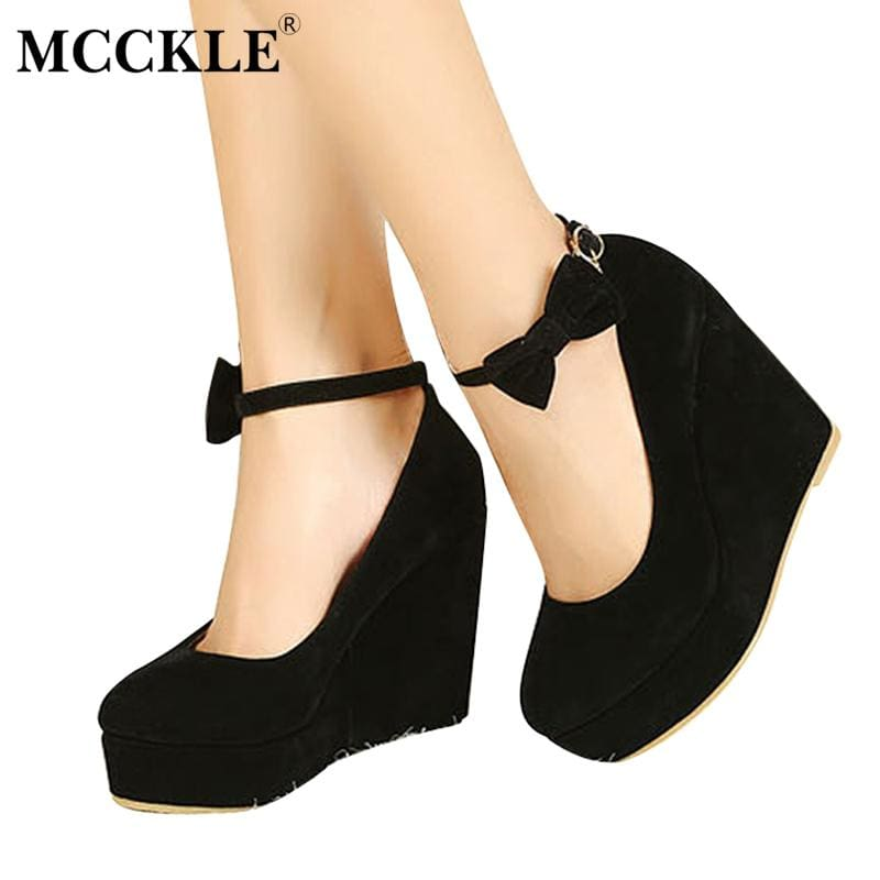 MCCKLE Women Fashion Buckle Ladies Shoes Wedges High Heels Platform Black Casual Bowtie Pumps Tenis