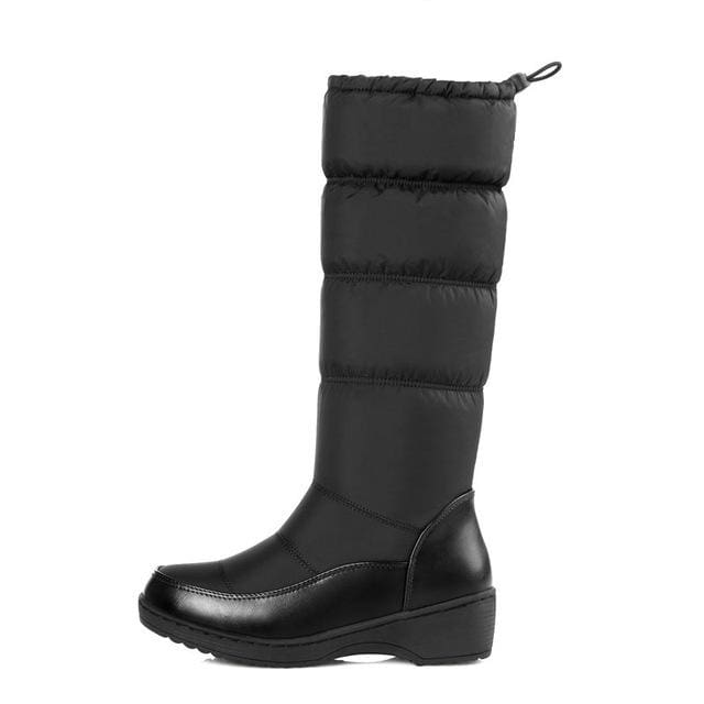 Memunia New 2018 Fashion Warm Knee High Snow Boots Women Round Toe Soft Leather Warm Down Winter Black / 4