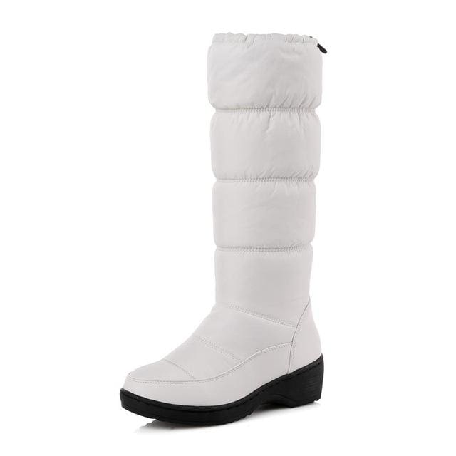 Memunia New 2018 Fashion Warm Knee High Snow Boots Women Round Toe Soft Leather Warm Down Winter White / 4