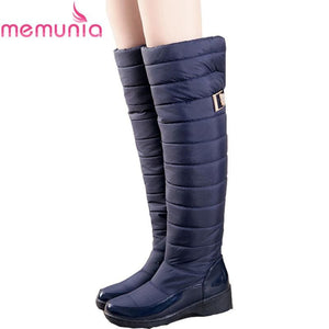 Memunia Russia Winter Boots Women Warm Knee High Boots Round Toe Down Fur Ladies Fashion Thigh Snow