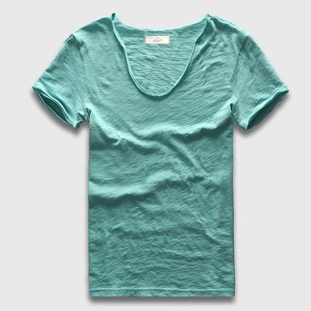 Men Basic T-Shirt Solid Cotton V Neck Slim Fit Male Fashion T Shirts Short Sleeve Top Tees 2017 Cascade / S
