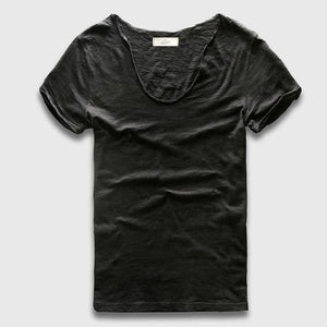Men Basic T-Shirt Solid Cotton V Neck Slim Fit Male Fashion T Shirts Short Sleeve Top Tees 2017 - MBMCITY