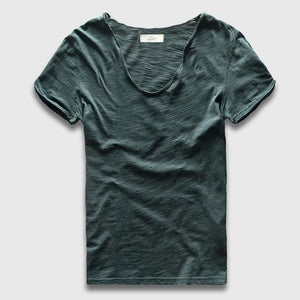 Men Basic T-Shirt Solid Cotton V Neck Slim Fit Male Fashion T Shirts Short Sleeve Top Tees 2017 Dark Green / S