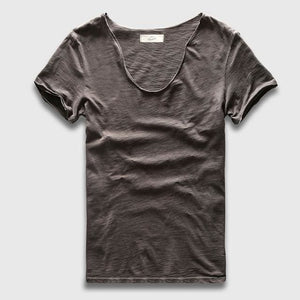 Men Basic T-Shirt Solid Cotton V Neck Slim Fit Male Fashion T Shirts Short Sleeve Top Tees 2017 Dark Grey / S