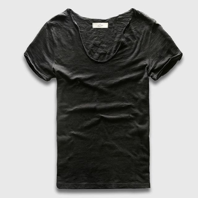 Men Basic T-Shirt Solid Cotton V Neck Slim Fit Male Fashion T Shirts Short Sleeve Top Tees 2017 Black / S