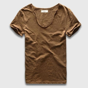 Men Basic T-Shirt Solid Cotton V Neck Slim Fit Male Fashion T Shirts Short Sleeve Top Tees 2017 Olive Green / S
