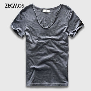 Men Basic T-Shirt Solid Cotton V Neck Slim Fit Male Fashion T Shirts Short Sleeve Top Tees 2017