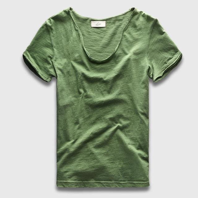 Men Basic T-Shirt Solid Cotton V Neck Slim Fit Male Fashion T Shirts Short Sleeve Top Tees 2017 Green / S