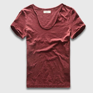 Men Basic T-Shirt Solid Cotton V Neck Slim Fit Male Fashion T Shirts Short Sleeve Top Tees 2017 Wine Red / S