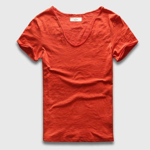 Men Basic T-Shirt Solid Cotton V Neck Slim Fit Male Fashion T Shirts Short Sleeve Top Tees 2017 Orange / S