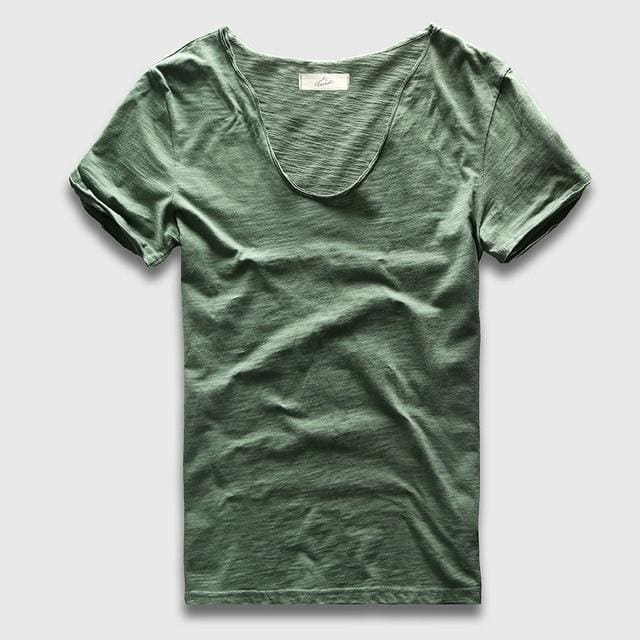 Men Basic T-Shirt Solid Cotton V Neck Slim Fit Male Fashion T Shirts Short Sleeve Top Tees 2017 Deep Green / S