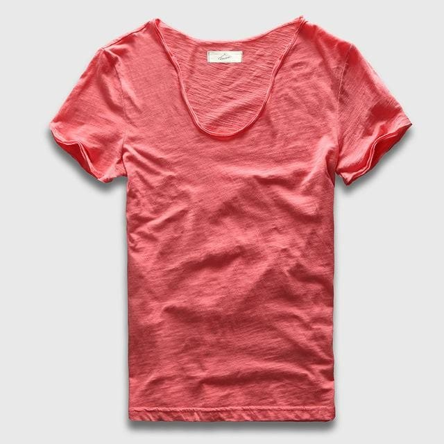 Men Basic T-Shirt Solid Cotton V Neck Slim Fit Male Fashion T Shirts Short Sleeve Top Tees 2017 Watermelon Red / S