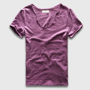 Men Basic T-Shirt Solid Cotton V Neck Slim Fit Male Fashion T Shirts Short Sleeve Top Tees 2017 Purple / S